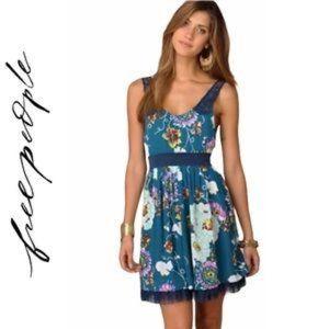 Free People Floral Lace Strap Skater Dress Teal 12